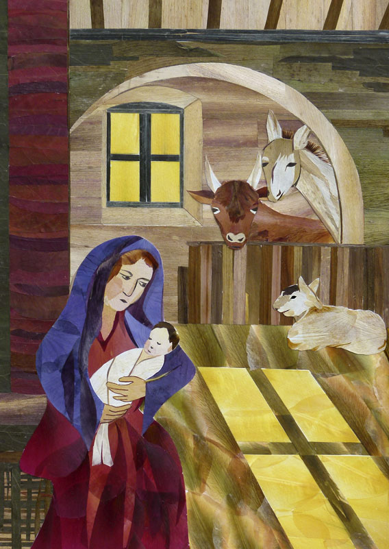Christmas scene of Mary and Jesus, and animals, and cross-shaped shadow