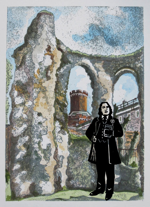 Oscar Wilde standing in the Reading Abbey ruins with his back to the Gaol